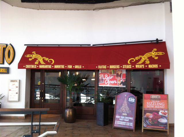 Fixed Awning at Chiquito in Portsmouth Gunwharf Quays