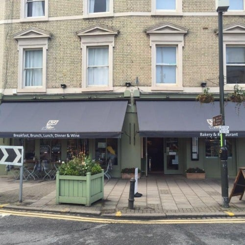 Commercial awning on Le Pain Quotidien Restaurant
