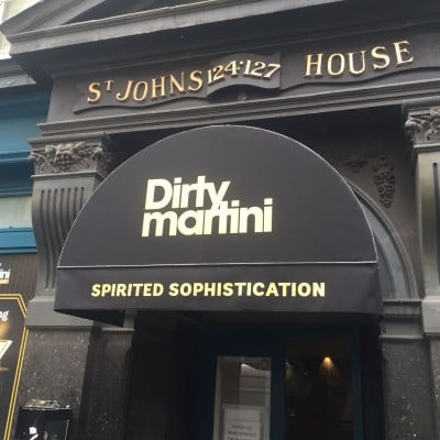 Sign Writing on Dirty Martini entrance awning