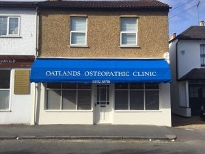 Oatlands Osteopathy Clinic, Weybridge Recover Dutch Blind with signwriting