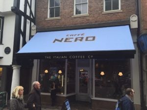Caffe Nero, Chesterfield, Refurb and recover electric folding arm awning with branding