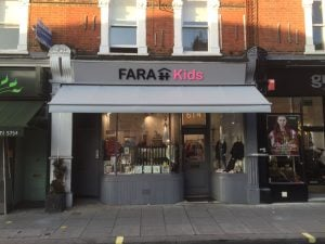 Fara Charity Shop, Fulham Road, New Foldaway Awning covered in acrylic material