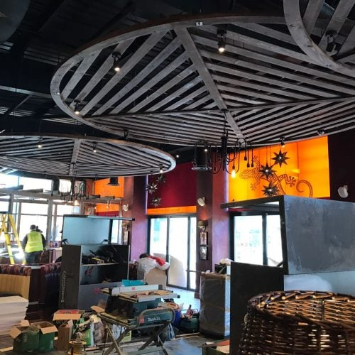 Electric roller blinds used in Chiquito Restaurant in Harlow