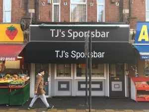 TJ's Sports Bar,Wealdstone. New Dutch Canopy with branding on front panel