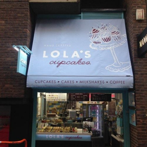 Shop awning used on Lola's Cupcakes Bakery