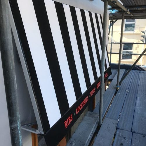 Fixed Frame Awning with signwritten valance