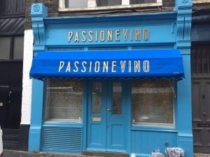 shop awnings for Passione Vino