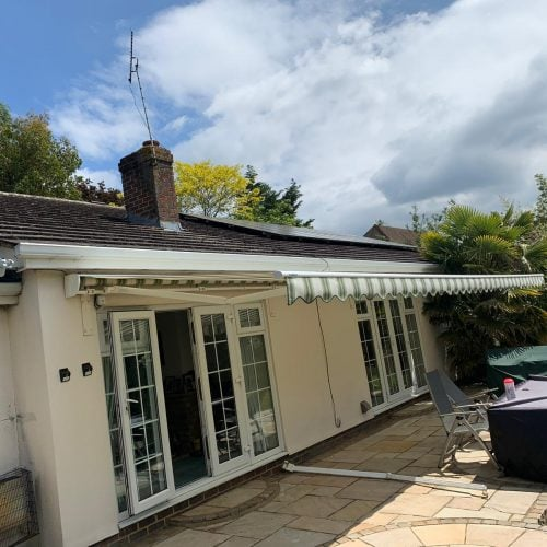 wide folding arm patio awing