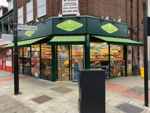 Shop front recessed awning