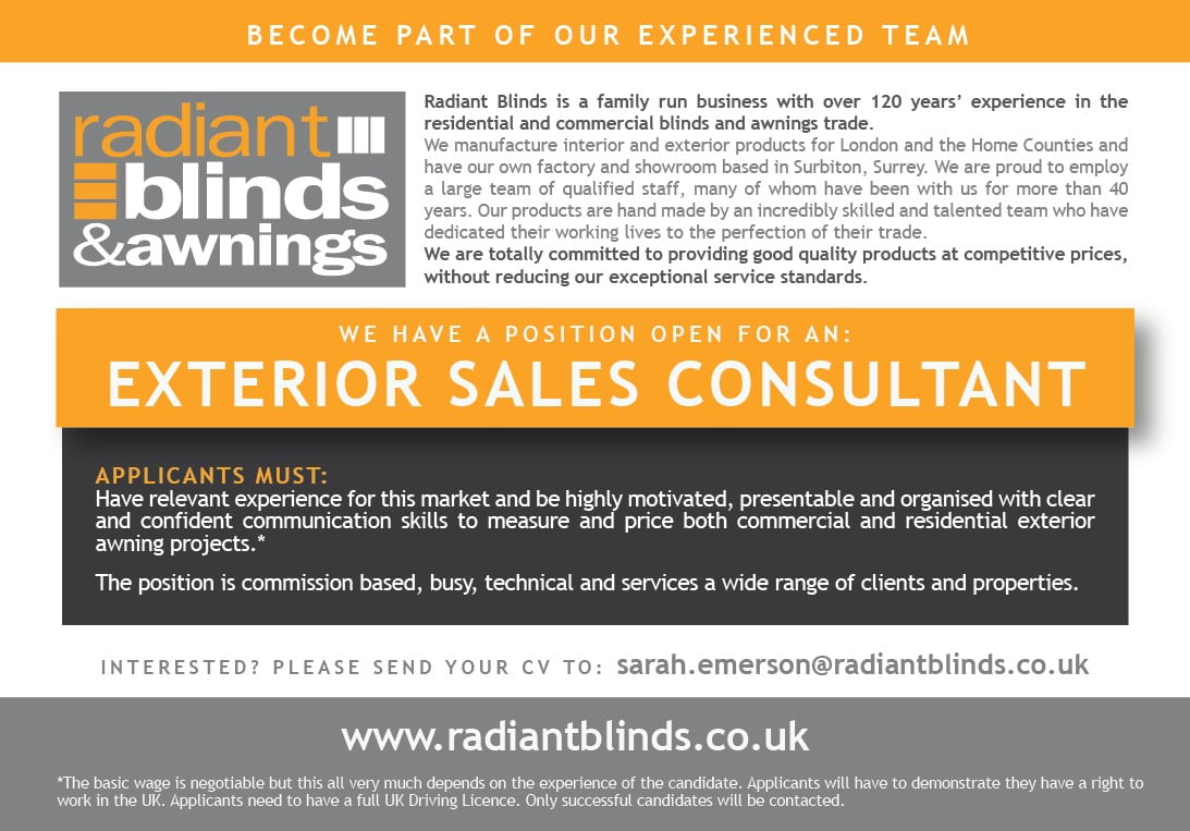 Experienced Exterior Sales Consultant - March 2021